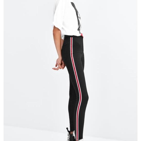 1cdc790e2b916 Zara Jeans | Hirise Super Elastic Jeggings W Side Stripe | Poshmark